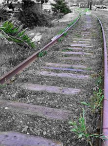 Abandoned railroad tracks previously used by Belt Line Railway & Standard Oil